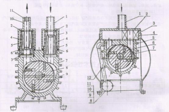 wx型无油旋片式真空泵结构图