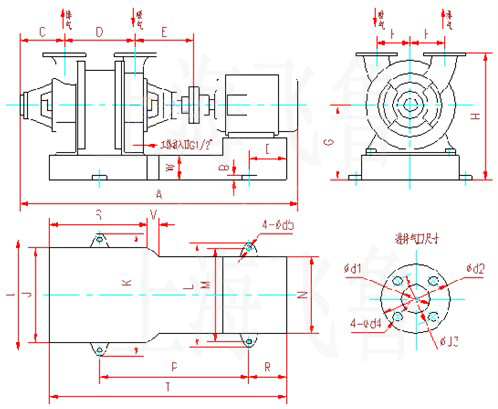 SK-1.5、SK-3水环式真空泵及压缩机外形及安装尺寸图