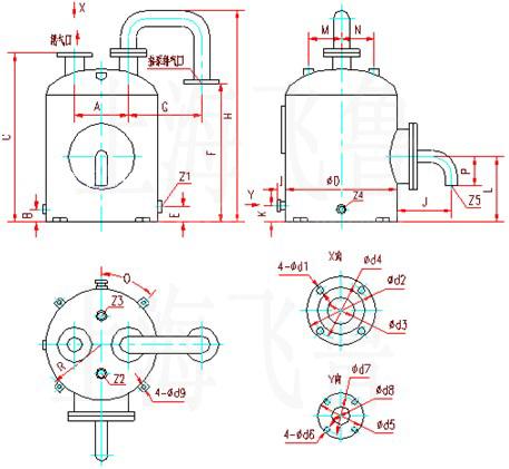 SK-1.5、SK-3水环式真空泵及压缩机用气水分离器外形及安装尺寸