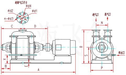 SK-6、SK-12、SK-20、SK-30、SK-42水环式真空泵及压缩机外形及安装尺寸图