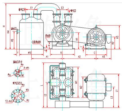 SK-60、SK-85、SK-120水环式真空泵外形及安装尺寸图